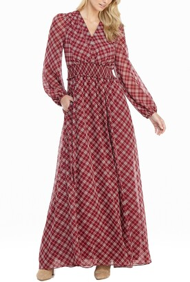 Gal Meets Glam Robyn Plaid Long Sleeve Chiffon Maxi Dress