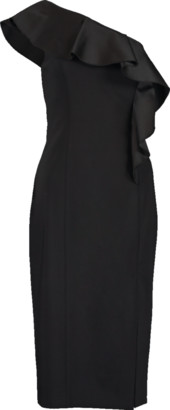 Michael Kors One Shoulder Ruffle Sheath Back Dress