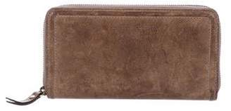 Brunello Cucinelli Distressed Leather Continental Wallet