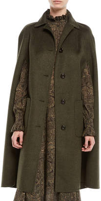 Michael Kors Single-Breasted Button-Front Long Wool Cape Coat