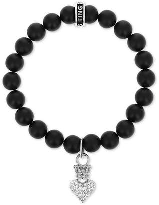 King Baby Studio Women's Onyx (8mm) Bead Crown Heart Stretch Bracelet