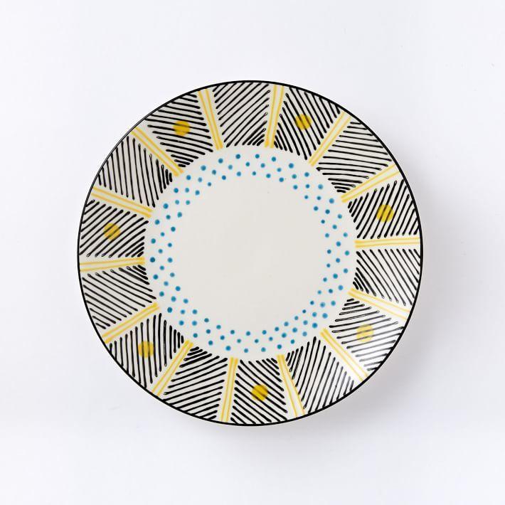 Potter's Workshop Salad Plates (Set of 4) - Yellow Dots/Black Stripes