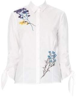 Carolina Herrera Floral-Embroidered Blouse