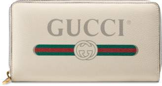 Gucci Print leather zip around wallet