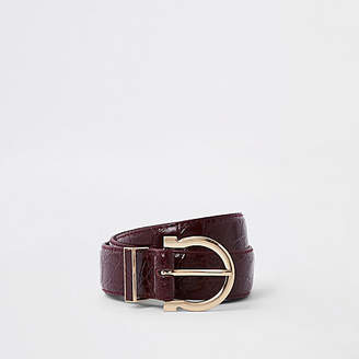 River Island Womens Dark Red croc layeRed jeans belt