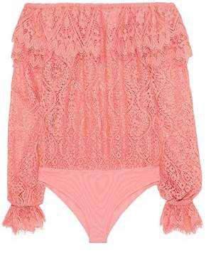 Perseverance Off-The-Shoulder Corded Lace And Mesh Bodysuit