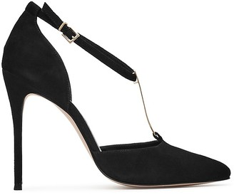 REISS Keira Metal T-Bar Pointed Toe Pumps $305 thestylecure.com