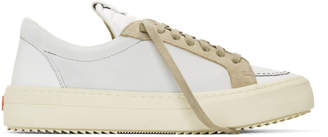Rhude White and Grey Suede V1 Lo Sneakers