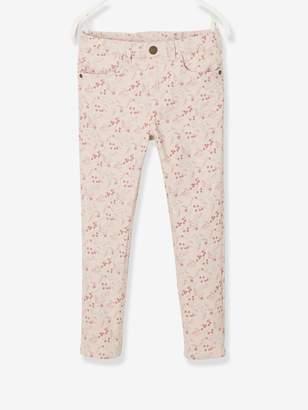 Vertbaudet Slim Leg Trousers with Flower Print, for Girls