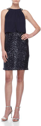 Vince Camuto Chiffon Blouson Sequin Skirt Dress