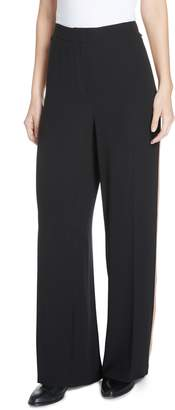 Eileen Fisher High Waist Side Stripe Silk Crepe Pants