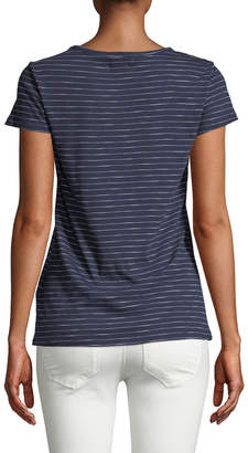 Neiman Marcus Short-Sleeve Striped Beach Bum Graphic Cotton Slub Tee
