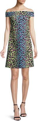 Chiara Boni Anoush Off-the-Shoulder Animal-Print Dress