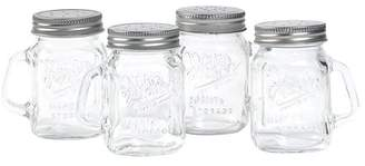 clear Mason Craft & More Mason Craft and More 4 Ounce Round Glass Salt and Pepper with Handle and Silver Metal Lid, Clear, Set Of 4