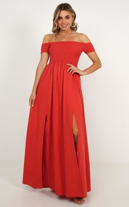 Showpo Game Changing maxi dress in rust linen look - 6 (XS) Sale