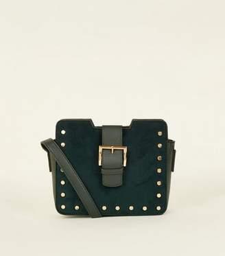 New Look Dark Green Suedette Stud Buckle Cross Body Bag