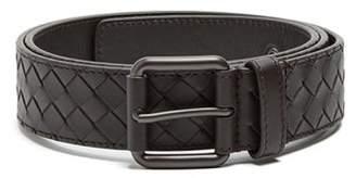 Bottega Veneta Intrecciato Leather Belt - Mens - Brown