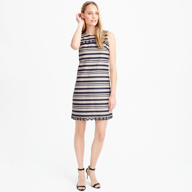 J.Crew Striped scalloped dress with grommets