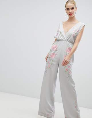 Asos DESIGN Jumpsuit With Wide Leg And Embroidery