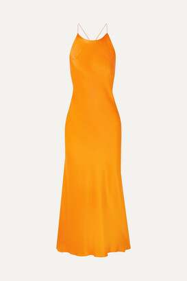 Rosetta Getty Open-back Satin Midi Dress - Orange