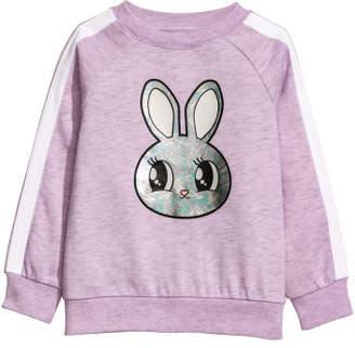H&M Sweatshirt with Printed Design - Purple