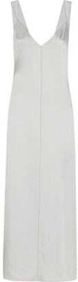 Elizabeth and James - Pearl Crepe-trimmed Satin Maxi Dress - Light gray $475 thestylecure.com