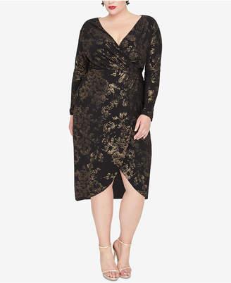 Rachel Roy Plus Size Foil Print Wrap Dress