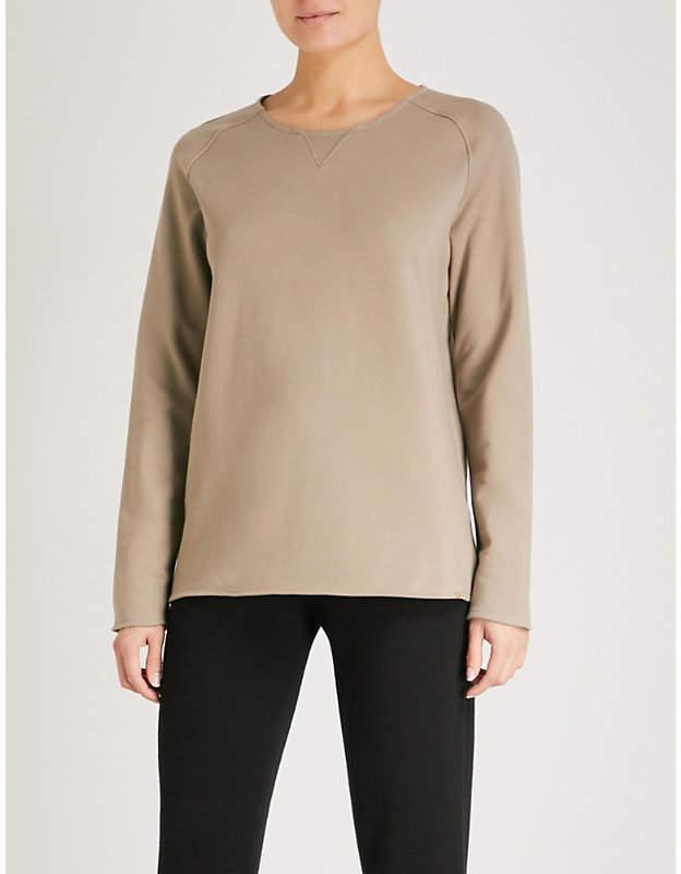 Round neck cotton-blend lounge sweatshirt