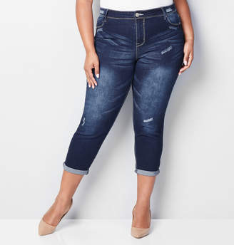 Avenue Cuffed Denim Crop in Dark Wash