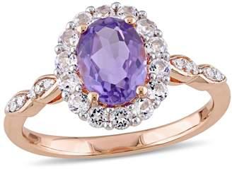 Concerto Amethystand Diamond 14K Rose Gold Vintage Ring