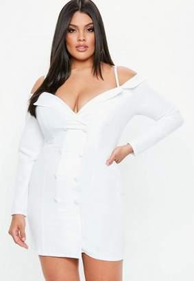 Missguided Plus Size White Bardot Blazer Dress