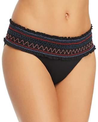 Red Carter In Stitches Paige Smocked Bikini Bottom