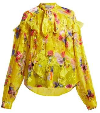 Preen By Thornton Bregazzi - Cora Floral Print Satin Devoré Blouse - Womens - Yellow Multi