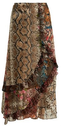 Preen by Thornton Bregazzi Clemence Floral And Snake Print Satin Devore Skirt - Womens - Multi