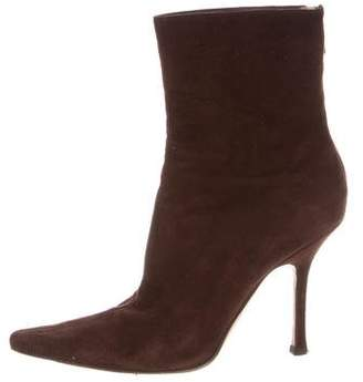 Jimmy Choo Suede Pointed-Toe Ankle Boots
