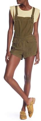 Free People Expedition Linen Blend Short Overalls