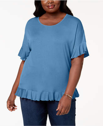 NY Collection Plus Size Ruffle-Trim Top