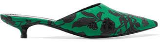 Erdem Farida Floral-jacquard Mules - Green