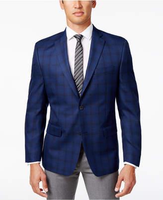 MICHAEL Michael Kors Men's Classic-Fit Navy Windowpane Sport Coat $295 thestylecure.com