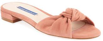 Stuart Weitzman Kelli Suede Knot Slide Sandals