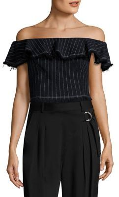T by Alexander Wang T by Cotton Burlap Off-The-Shoulder Cropped Top $325 thestylecure.com