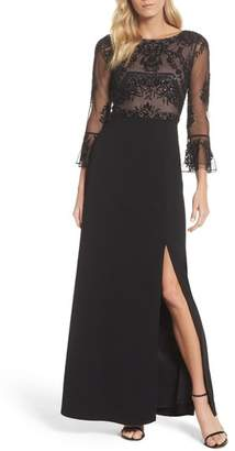 Adrianna Papell Embellished Ruffle Sleeve Mesh & Crepe Gown