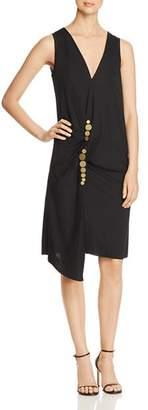 Kenneth Cole Embellished Twist Wrap Dress