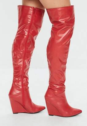 Missguided Red Pointed Toe Wedge Knee High Boot