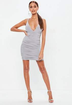 Missguided Gray Slinky Cross Back Ruched Side Dress