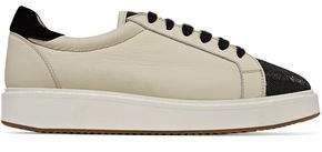 Brunello Cucinelli Embellished Suede-Trimmed Textured-Leather Sneakers