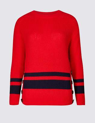 Marks and Spencer Cotton Blend Striped Long Sleeve Jumper