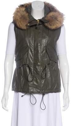SAM. Fur-Trimmed Hooded Vest