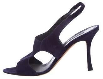 Manolo Blahnik Suede Mid-Heel Sandals