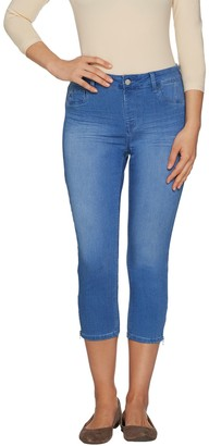 Laurie Felt Silky Denim Capri Pull-On Jeans with Zip Detail